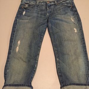 7 For All Mankind Crop Straight Distressed Jeans